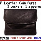 BLACK LEATHER 2 pocket Credit Card & zipper COIN Purse