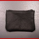 Made in USA - Quality Leather BLACK Zipper Coin Purse