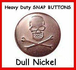 10sets Dull Nickel SKULL Leather SNAP FASTNERS w/ tools