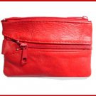 RED ~ 2 Zipper COIN PURSE LEATHER ~ Coin wallet
