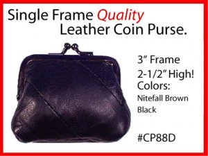 OLD FASHION Metal Frame LEATHER Change PURSE / COIN