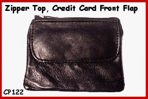 BLACK - Zipper top Credit Card flat leather Coin Purse