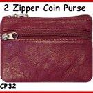 Burgundy ~ 2 Zipper COIN PURSE ~  LEATHER ~ Coin wallet