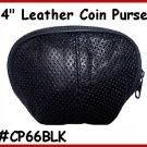 "Black Designers 4"" Zipper Top Leather Coin Purse"