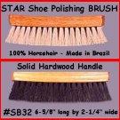 BLK 100% Horsehair Shine Polishing Brush for Shoes Boot