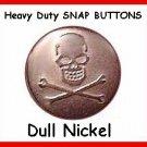 25 Dull Nickel Skulls Heads  Leather SNAPS / Coats Vest