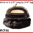 Dark Brown Mirror inside Leather Small  MAKE up PURSE