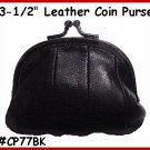 "BLACK - Metal 3-1/2"" Frame LEATHER Change PURSE COIN"
