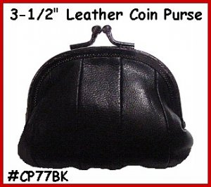 """BLACK - Metal 3-1/2"""" Frame LEATHER Change PURSE COIN"""