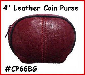 "BURGUNDY - Designers 4"" Zipper Top Leather Coin Purse"