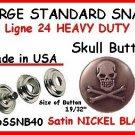 Gun Metal Black SKULL Leather SNAP FASTNERS w tools kit