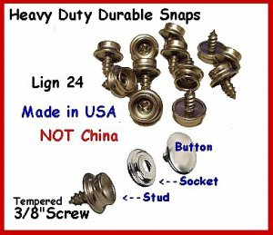 """10-5/8"""" Screw Studs & Stainless Caps, Sockets, Snaps"""