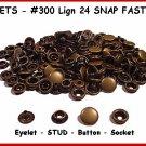 Ant.BRASS 200pcs 50 complete sets LEATHER SNAP FASTNER