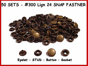 Ant.BRASS 200pcs 50 complete sets LEATHER SNAP FASTNER