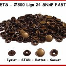 Quality! Ant.BRASS 200 pcs 50sets LEATHER SNAP FASTNER