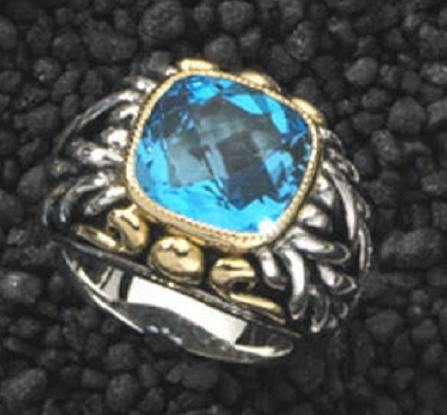 Designer Gold & Sterling Ring 6 ct. Blue Topaz 18K New