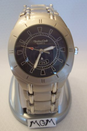 Men watch with blue face