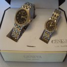 Geneva Quartz His & Her Black Face Gift Watch Set