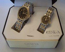 Geneva Quartz His & Her Black Face Gift Watch Set