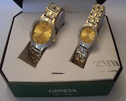 Geneva Quartz His & Her Watch Gift With A Gold Tone Face