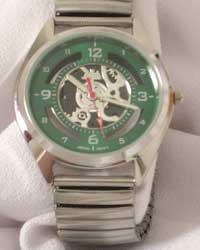 Montres Carlo Men's Green Face Watch W/Flex Band