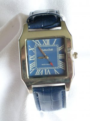 Montres Carlo Men's Square Watch W/Black Leather Band