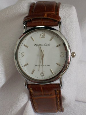 Montres Carlo Men's Round W/Brown Leather Band