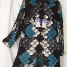 Women's Silk Evening Tunic W/Fans/Floral/Sequins/Bugle Beads
