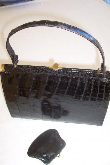 Luxurious Women's Black Alligator Handbag