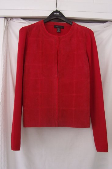 Women's Red Silk Knit Sweater With Suede Front