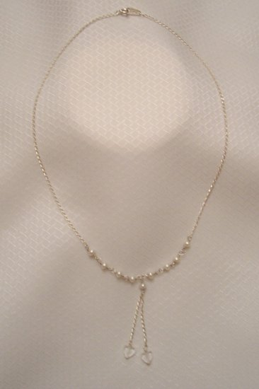 Sterling Silver Necklace W/ Natural Sea Pearls And Crystals