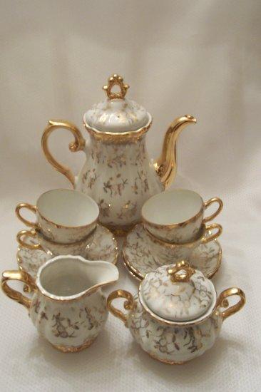 Sterling Porcelain Tea Set With 24k Gold Floral Design