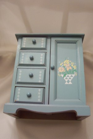 Mele Light Blue Vintage Jewelry Box With 4 Drawers 1 Door