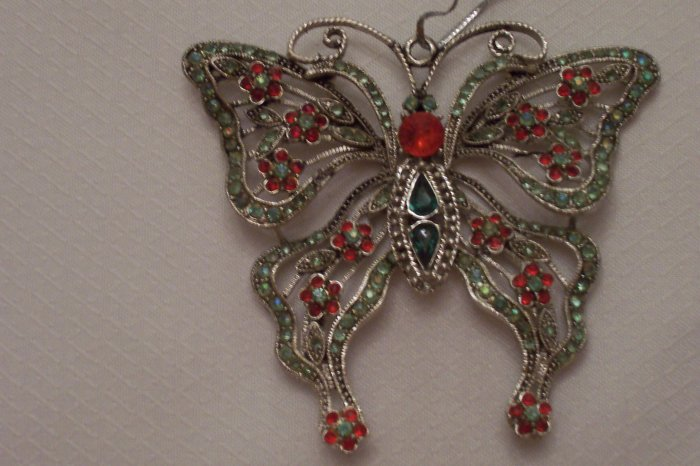 Gemstone Filigree Butterfly Pendent Or Ornament