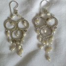 Sterling Silver And Natural Sea Pearl Chandlier Earrings