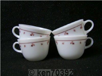 Corning Burgundy Rose Cup Mug Set of 4