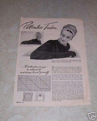 Vintage 1949 Turban Pattern