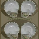 Corelle STRAWBERRY SUNDAE Six Cup Saucer Sets  1970