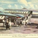 Colonial Airlines Bermuda Linen Postcard 1950s