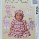 McCall's 9604 Dress Pantaloons Hat Shoes Infants 1998
