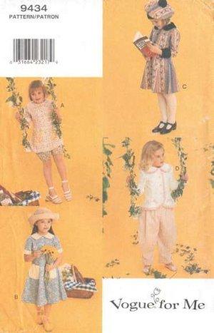 Vogue 8434 Dress Top Bloomers Pants Hat Girls 5-6x 1998