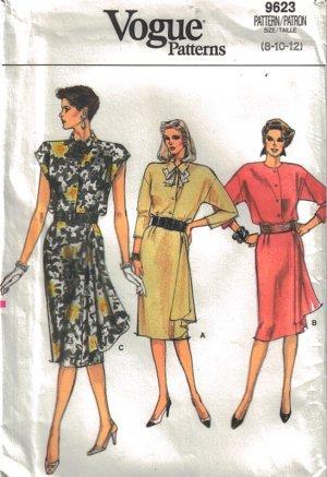 Vogue 9623 Dress Front Drape Misses 14-18 1986