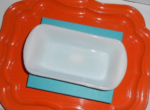 Glasbake Milk Glass Loaf Pan Green Bowl