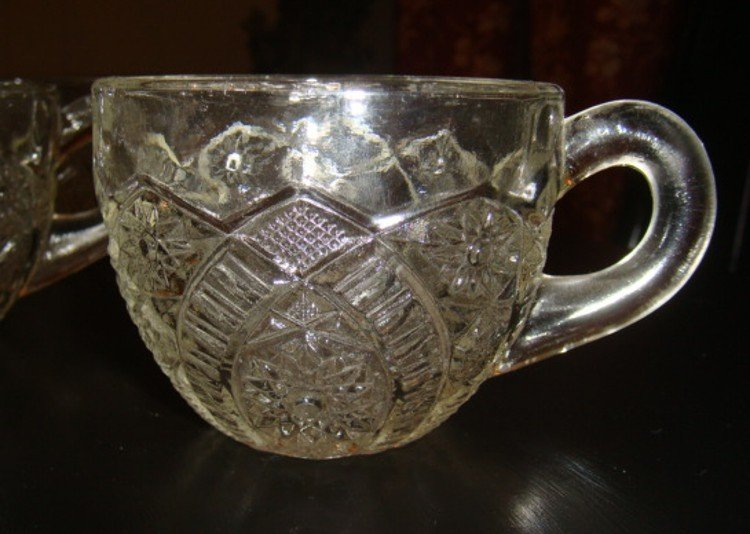 Hobstar Panel Daisy Punch Cups Set of 2 Vintage