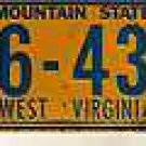 1968 Mountain State West Virginia License Plate Mini