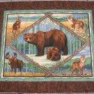 BEAR DEER WOLF QUILT FABRIC PANEL
