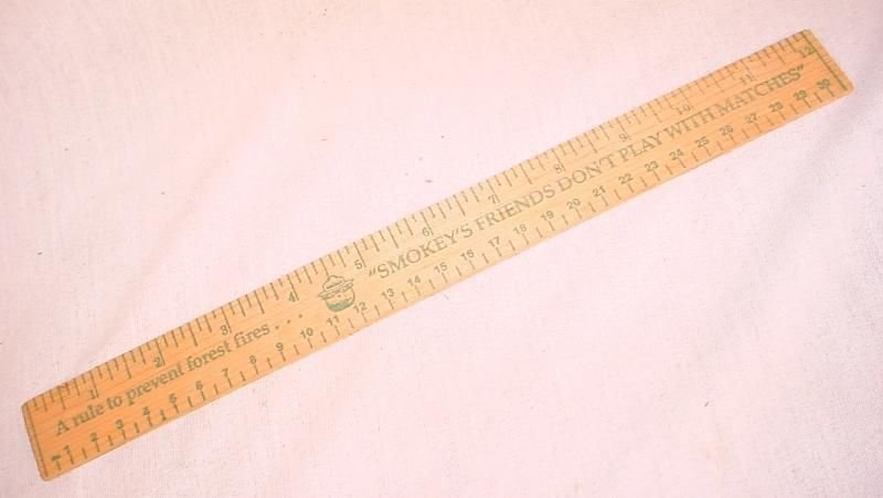 Smokey the Bear 2 Wooden Rulers Vintage