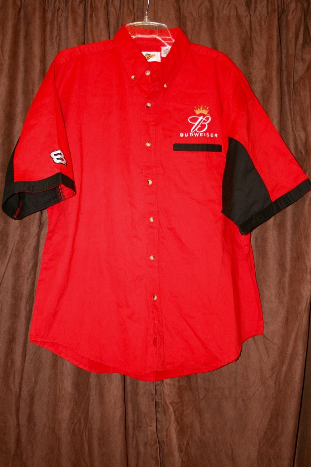 BUDWEISER DALE JR. 8 EMBROIDERED RED TWILL SHIRT XL Winner's Circle