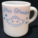 FIRE KING I LOVE GRANDMA WHITE MILK GLASS MUG