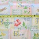 Daisy Strawberry Rosemary Dragonfly Fabric OOP